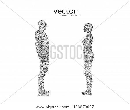 Vector Illustration Of Couple Opposite To Each Other.