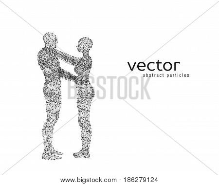Vector Illustration Of Couple Hugging Each Other.