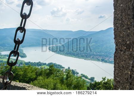 A View To Danube River From Visegrad Castle Over The Hill, Selected Focus At Details Of A Castle Wal