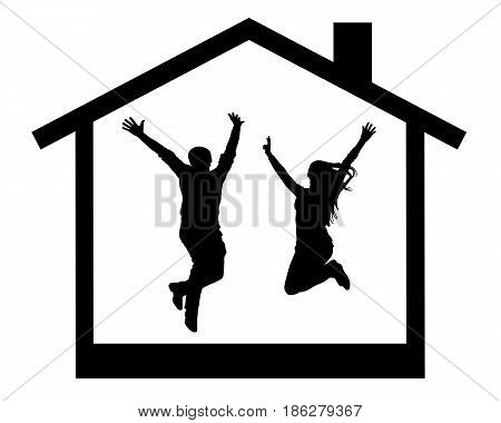 silhouette of happy young couple jumping in the house room