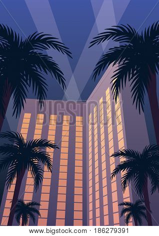 Hotel and casino resort at night in Art Deco style.