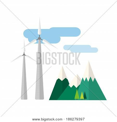 Power alternative energy and eco turbine wind station technology. Renewable nature environmental industry. Source electricity conservation vector illustration.
