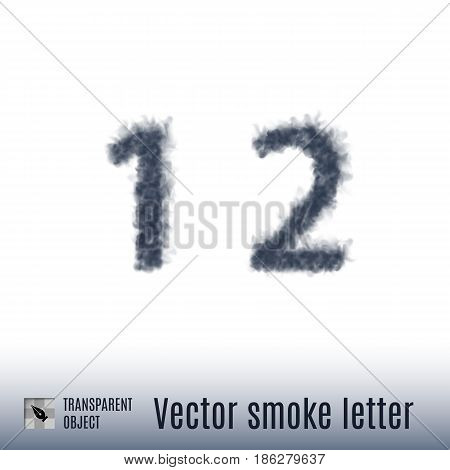 Smoke in Shape of the Number One and Two on White Background
