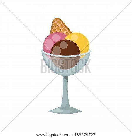 Sweet cartoon cold ice cream and tasty cartoon frozen ice cream vector delicious. ice cartoon colorful ice-cream desserts. Chocolate and milk icecream vector illustration
