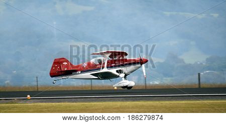 Albion Park Australia - May 6 2017. Paul Bennet aerobatic display in Wolf Pitts Pro. Wings Over Illawarra is an annual air show held at Illawarra Regional Airport.