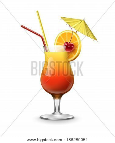 Vector Tequila Sunrise cocktail garnished with maraschino cherry, fresh orange, party umbrella and red, yellow straw tubes isolated on white background