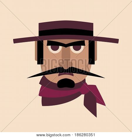 men head  in hat vector illustration style Flat