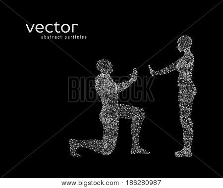Abstract vector illustration of couple on black background.