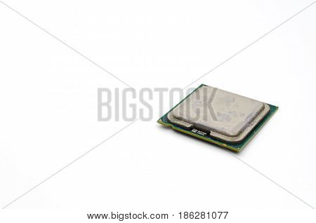 detail of CPU or central processing unit, micro processor isolated on white background