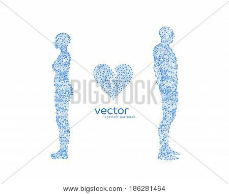 Abstract vector illustration of couple with broken heart.