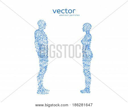 Abstract vector illustration of couple opposite to each other.