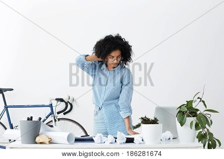 Beautiful Young Dark-skinned Buinesswoman Wearing Casual Clothes, Touching Neck, Finishing Working D