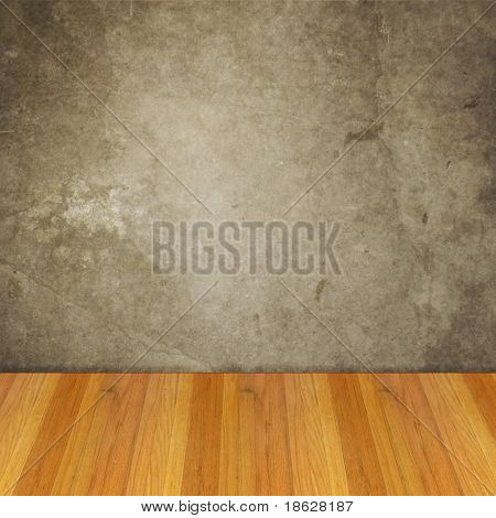 Dimensional Room with a Grey Concrete Grunge Wall, and Wood Floor.
