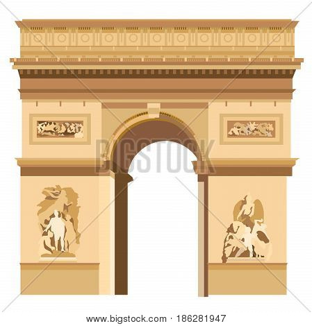 Colorful Triumphal Arch in Paris vector Illustration on white background