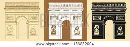 Set of Colorful Triumphal Arch (contour colorful black) vector Illustrations on beige background
