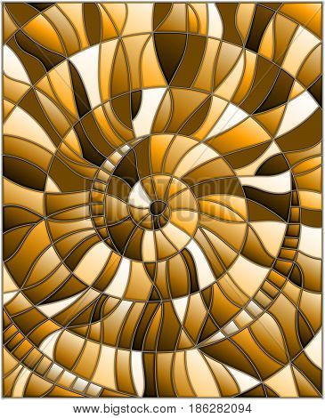 Illustration in stained glass style with abstract mosaic image tiles arranged in a spiral brown tone sepia