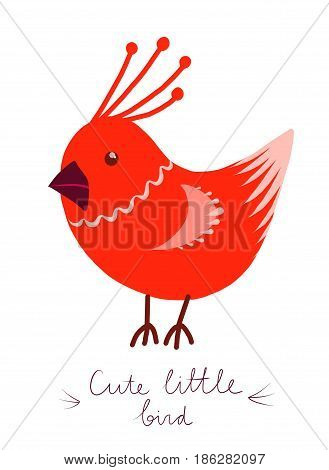 Cute little cartoon birdie character. Red stylized funny bird. forest animal. Isolated design element