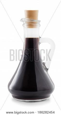 soy sauce in glass bottle isolated on white background with clipping path. Seasoning soy sauce in transparent jug