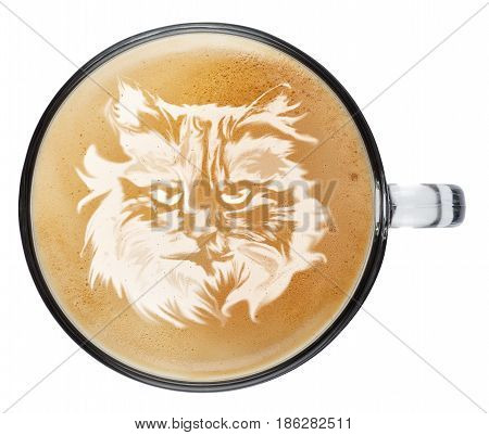 cup of coffee latte with foam isolated on white background. Top view latte art coffee. Cat muzzle on latte art drawing coffee cup