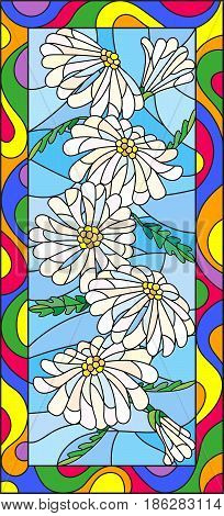Illustration in stained glass style with flowers buds and leaves of chamomilevertical orientation