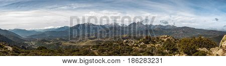 Panoramic View Of Snow Capped Mountains Of Northern Corsica