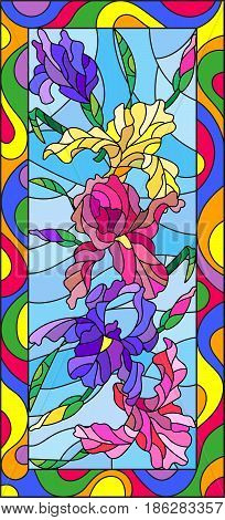 Illustration in stained glass style with flowers buds and leaves of irisvertical orientation