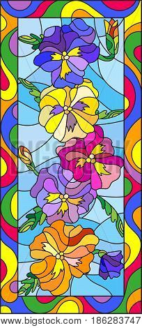Illustration in stained glass style with flowers buds and leaves of pansyvertical orientation