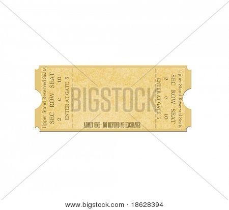 Blank Ticket on White