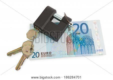 Money and lock isolated on white background