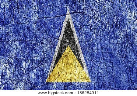 Grudge stone painted Saint Lucia flag close