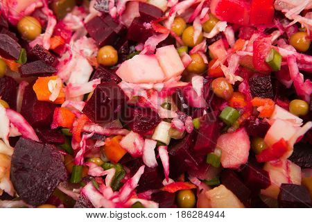 Close up vegetable salad isolated on the white background