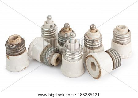 Old fuses isolated on a white background
