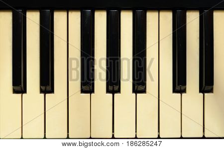 Closeup to Old Music Instrument Electone Keyboard Background