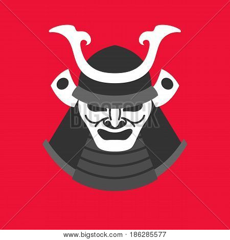 Vector illustration with the armor of a samurai in minimalistic flat style on red background