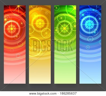 Abstract vertical banners set. Star shape elements and concentrical circles on colorful gradient background. Vector illustration.