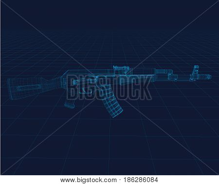 Chair Vector wireframe, perspective 3d technology vector illustration.