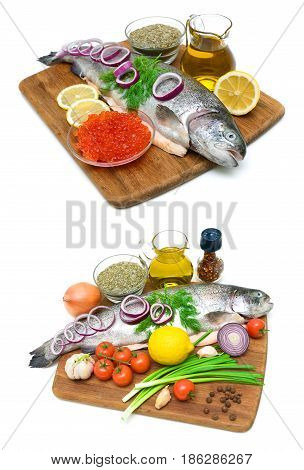 Trout red caviar and vegetables on a white background. Vertical photo.