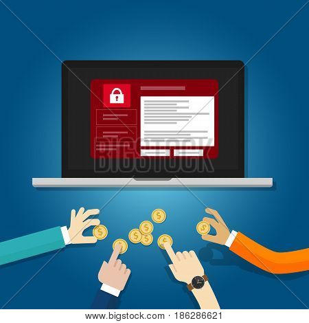 wanna cry hacker malware concept of lock folder and ask money hand holding coin ransom ware locked screen vector