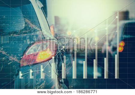 Double Exposure Of Traffic Jam With Row Of Cars