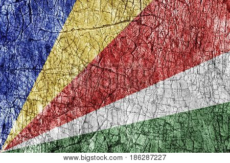 Grudge stone painted Seychelles flag close up