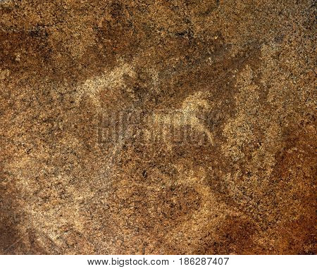 Petroglyphs on rock in national monument AK Baur in Eastern Kazakhstan. Cave paintings of deer of the Neolithic era.