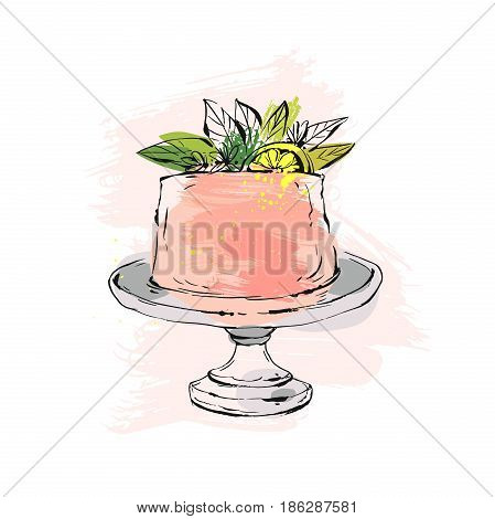 Hand drawn vector abstract watercolor textured cake on cake stand with lemon, flowers and leaves in peach colors isolated on white background.Wedding, art, anniversary, birthday, save the date, cake shop
