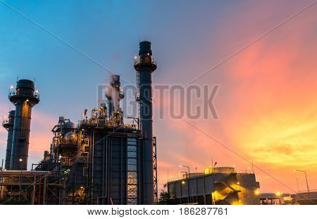 Petrochemical plant at twilight, industries layout, Thailand