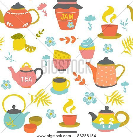 Tea ceremony seamless pattern of sweet things herbs ceramic pots and cups on white background vector illustration