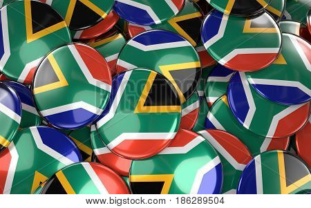 South Africa Badges Background - Pile Of South African Flag Buttons.