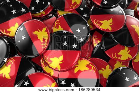 Papua New Guinea Badges Background - Pile Of Papuan Flag Buttons.