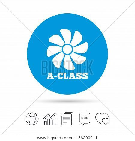 A-class ventilation icon. Energy efficiency sign symbol. Copy files, chat speech bubble and chart web icons. Vector