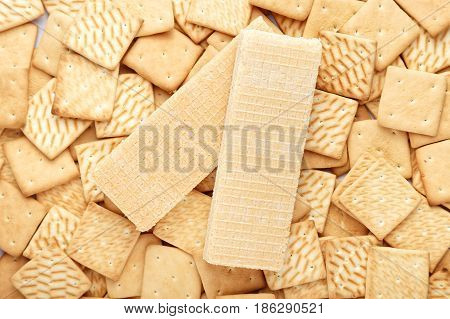 Cracker and waffles sweet background place for text bakery