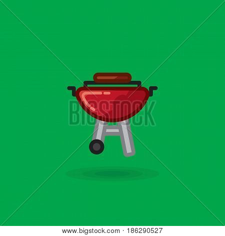 Vector icon of meat is fried on barbecue for picnic. Illustration of meat of a barbecue picnic grill on green background