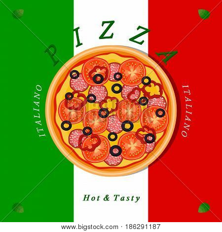 Vector logo illustration for pizzeria menu sliced triangle whole hot pizza.Pizza on the wood board the ingredients for the pizzas on the chalkboard Italian flag on background delivery in cardboard box